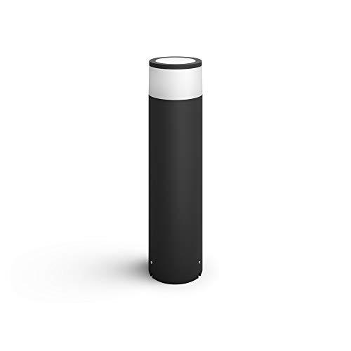 Philips Hue White & Color Ambiance Calla LED-Sockelleuchte, schwarz - Niedervolt Starterset   Standlampe für den Aussenbereich, dimmbar, bis zu 16 Millionen Farben, steuerbar via App Smartphone Tablet