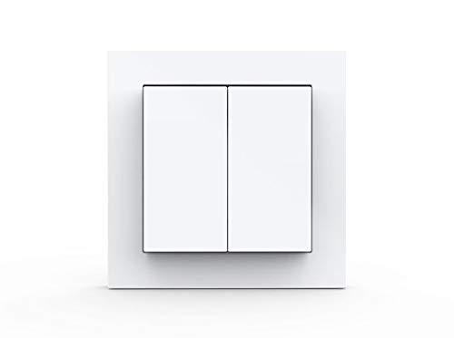 GIRA + Senic Friends of Hue Smart Switch: Kabelloser Schalter und Dimmer Kompatibel mit Philips Hue (Keine Batterien, Kein Aufladen), Weiß Matt