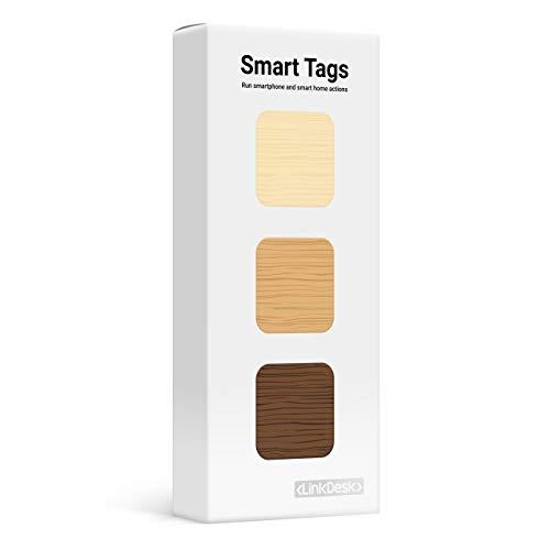 LinkDesk Smart Tags   Selbstklebende NFC Tags   Kontaktloses Auslösen von Smartphone und Smart Home Kurzbefehlen, Alexa und IFTTT   Für iPhone und Android Smartphones   Wood Edition