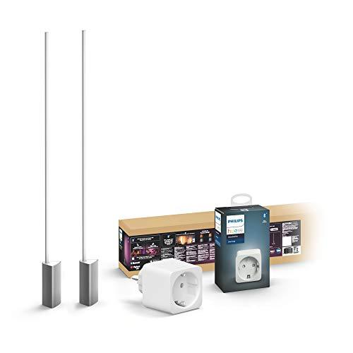 Philips Hue White & Col. Amb. LED Stehleuchte Signe (2er Pack), 16 Mio. Farben, steuerbar via App + Smart Plug, smarte Steckdose (kompatibel mit Amazon Alexa (Echo, Echo Dot) [Energieklasse A++])