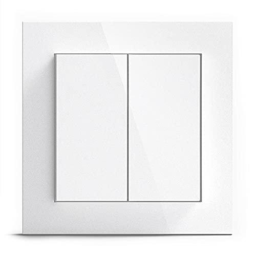 GIRA + Senic Friends of Hue Smart Switch | Kompatibel mit Philips Hue (Keine Batterien, Kein Aufladen) | Kabelloser Homekit Lichtschalter und Dimmer | Made in Germany | Gira Lichtschalter Weiß