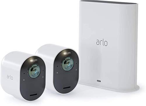 Arlo Ultra WLAN Überwachungskamera 4K & Alarmanlage, Innen / Aussen, kabellos, Bewegungsmelder, Smart Home, Farbnachtsicht, 180 Grad Blickwinkel, 2-Wege Audio, Spotlight, VMS5240, Weiß