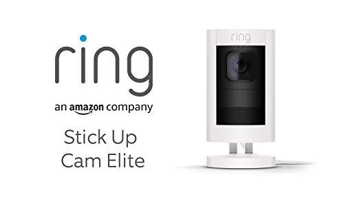 Ring Stick Up Cam Elite von Amazon, HD-Sicherheitskamera mit Gegensprechfunktion, Weiß, funktioniert mit Alexa