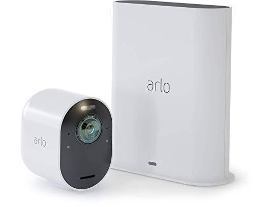Arlo Ultra Smart Home 1 kabellose 4K-HDR Überwachungskamera & Sicherheitsalarm, Innen/Außen, Farbnachtsicht, 180 Grad Blickwinkel, WLAN, 2-Wege Audio, Spotlight, Bewegungsmelder, (VMS5140) - Weiß