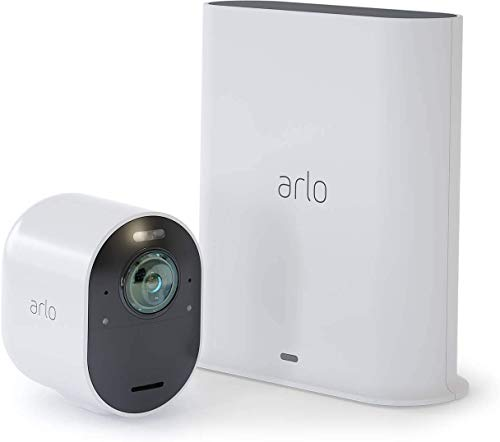 Arlo Ultra WLAN Überwachungskamera 4K & Alarmanlage, Innen / Aussen, kabellos, Bewegungsmelder, Smart Home, Farbnachtsicht, 180 Grad Blickwinkel, 2-Wege Audio, Spotlight, VMS5140, Weiß