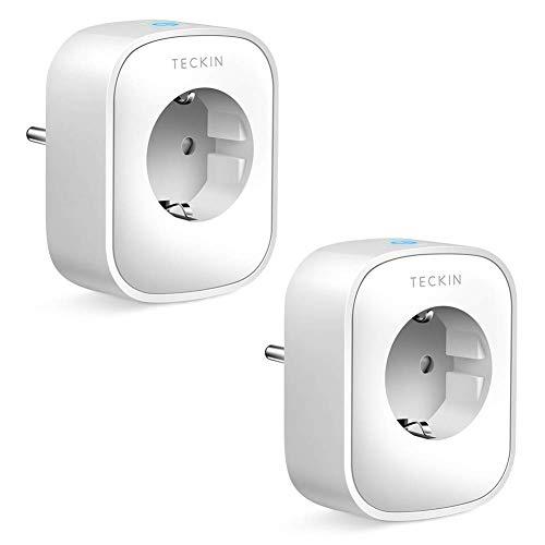 TECKIN WLAN Smart Steckdose, Alexa Steckdose 2er Pack, Smart Home Steckdosen Stromverbrauch Messen, Fernbedienbar mit Sprachsteuerung, Funktionieren mit Google Home und Alexa, NUR auf 2.4 GHz Netzwerk