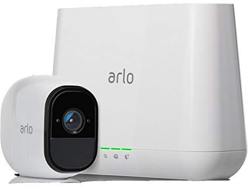 Arlo Pro Überwachungskamera & Alarmanlage, HD, 1er Set, Smart Home, kabellos, Innen / Aussen, Nachtsicht, Bewegungsmelder, 130 Grad Blickwinkel, WLAN, 2-Wege Audio, wetterfest, (VMS4130) - Weiß