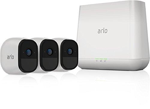 Arlo Pro Smart Home 3 HD- Pro Überwachungskameras und Sicherheitsalarm (100% kabellos, 720p HD, 130 Grad Blickwinkel, WLAN, Bewegungsmelder, Nachtsicht, Innen/Außen, 100 dB Sirene) weiß, VMS4330