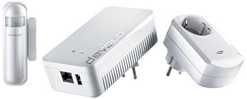 devolo Home Control Starter Paket (Z-Wave Hausautomation, Haussteuerung per iOS/Android App, einfache Installation, Smart Home Starter Set: Zentrale, Schaltsteckdose, Türkontakt, Fensterkontakt)
