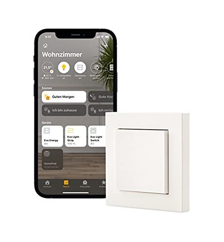 Eve Light Switch – Smarter Lichtschalter (Apple HomeKit), Einfach-, Wechsel- & Kreuzschaltung, kompatibel mit Mehrfachschaltern, Zeitpläne, anpassbares Design, keine Bridge nötig, Bluetooth/Thread