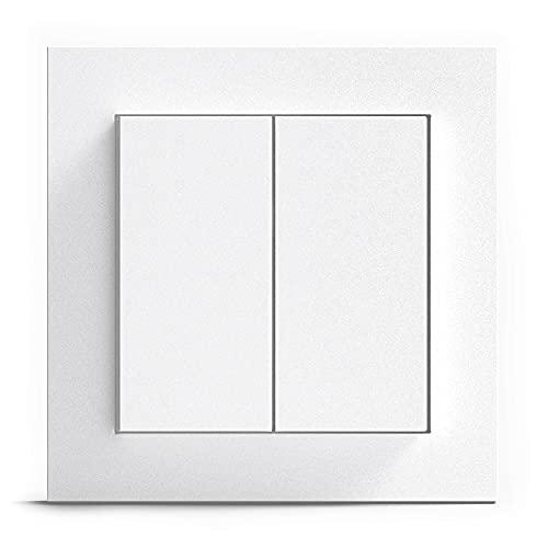 GIRA + Senic Friends of Hue Smart Switch | Kompatibel mit Philips Hue (Keine Batterien, Kein Aufladen) | Kabelloser Homekit Lichtschalter und Dimmer | Made in Germany | Gira Lichtschalter Weiß Matt