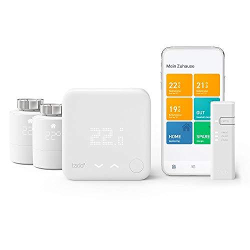 tado° Smartes Thermostat - Starter Kit V3+ mit 2 Smarten Heizkörper-Thermostaten für Multi-Room Control, Einfach selbst zu installieren, Designed in Germany