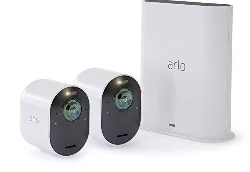Arlo Ultra Smart Home 2 kabellose 4K-HDR Überwachungskameras & Sicherheitsalarm, Innen/Außen, Farbnachtsicht, 180 Grad Blickwinkel, WLAN, 2-Wege Audio, Spotlight, Bewegungsmelder, (VMS5240) - Weiß