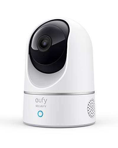 eufy Security Indoor Cam 2K Überwachungskamera für Innenbereiche, Plug-In Schwenk-Neige-Sicherheitskamera, IP Kamera, Personenerkennung, mit Sprachassistent, Bewegungssensor, HomeBase nicht kompatibel