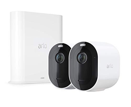 Arlo Pro3 Überwachungskamera & Alarmanlage, 2K UHD, 2er Set, Smart Home, kabellos, Innen/Außen, Farbnachtsicht, 160 Grad Blickwinkel, WLAN, 2-Wege Audio, Spotlight, Bewegungsmelder, (VMS4240P) - Weiß