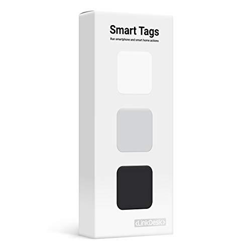 LinkDesk Smart Tags   Selbstklebende NFC Tags   Kontaktloses Auslösen von Smartphone und Smart Home Kurzbefehlen, Alexa und IFTTT   Für iPhone und Android Smartphones