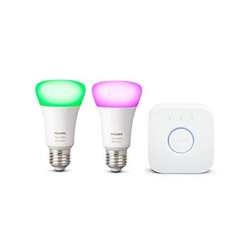 Philips Hue White & Color Ambiance E27 2-er Starter Set Bluetooth, 9 W, dimmbar, 16 Mio. Farben, steuerbar via App, kompatibel mit Amazon Alexa, 8718699736002, weiß