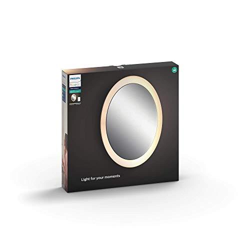 Philips Hue Adore LED Spiegel mit Beleuchtung, inkl. Dimmschalter, alle Weißschattierungen, steuerbar via App, kompatibel mit Amazon Alexa (Echo, Echo Dot), weiß