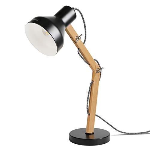 Tomons Schreibtischlampe LED mit schwenkbaren Holzarmen, Designer Tischlampe, Leselampe, Studierlampe, Arbeitslampe, Bürolampe, Nachttischlampe, LED-Birnen-Lampe - Schwarz