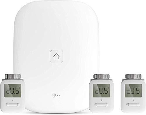 MAGENTA SMARTHOME Starter Set Heizung mit App | immer auf Wohlfühltemperatur mit intelligenten Thermostaten für dein smartes Zuhause | inkl. Magenta Home Base 2 & drei Heizkörperthermostate (4-tlg.)