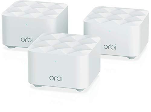 Netgear Orbi RBK13 Mesh-WLAN-System (3er Set mit Mesh-Router + 2x Satellit-Repeater, Wifi Mesh mit bis zu 300 m² Abdeckung für komplette Wohnung oder Haus)