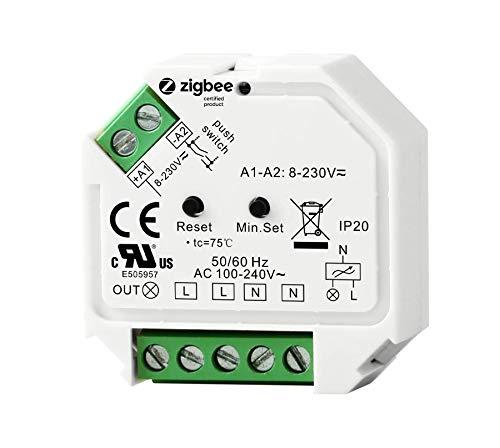 ZigBee Controller 230V Unterputz Dimm-Aktor Dimm-Schalter max. 200W LED 400W Halogen mit Taster-Anschluss Phasenabschnitt-Steuerung für dimmbare Lampen, Trafos & Leuchten