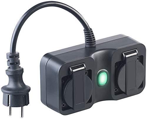 Luminea Home Control Funksteckdosen: Outdoor-WLAN-2-fach-Steckdose komp. zu Amazon Alexa & Google Assistant (WLAN-Steckdosen aussen Alexa)