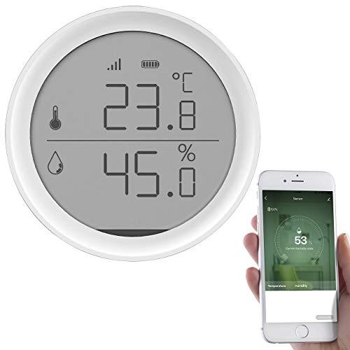 Luminea Home Control Hygrometer: WLAN-Temperatur- & Luftfeuchtigkeits-Sensor mit App, 15-Tage-Speicher (Digital-Raumthermostat)