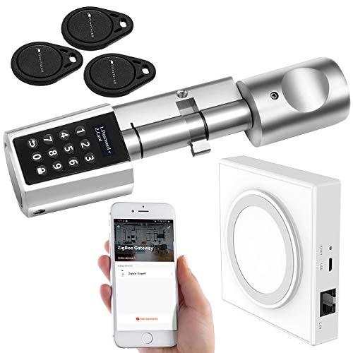 VisorTech Türzylinder: Tür-Schließzylinder mit Steuereinheit für ZigBee und Smart-Home-App (Zylinderschloss)
