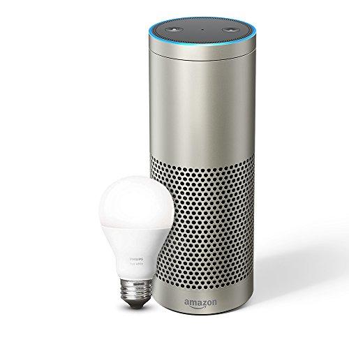 Echo Plus (1. Gen.) - Mit integriertem Smart Home-Hub (silber) - inklusive Philips Hue White E27 LED Lampe