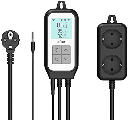 revolt Temperaturregler: WLAN-Steckdosen-Thermostat für 2 Geräte, Sensor, App, Sprachsteuerung (W-LAN-Thermostat)