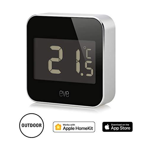 Eve Degree - Vernetzte Wetterstation zum Überwachen von Temperatur, Luftfeuchtigkeit und Luftdruck; LCD-Display, IPX3-Wasserbeständigkeit, keine Bridge erforderlich, BLE (Apple HomeKit)