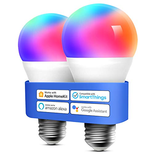 Smart WLAN Glühbirne funktioniert mit Apple HomeKit, Meross Wifi Lampe LED Mehrfarbige Dimmbare Glühbirne kompatibel mit Siri, Alexa, Google Home und SmartThings, 60W E27 Warmweiß, 2 Stücke