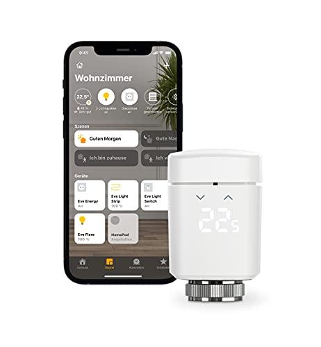 Eve Thermo – Smartes Heizkörperthermostat mit LED-Display, automatischer Temperatursteuerung, keine Bridge erforderlich, Bluetooth/Thread, Apple HomeKit, Made in Germany
