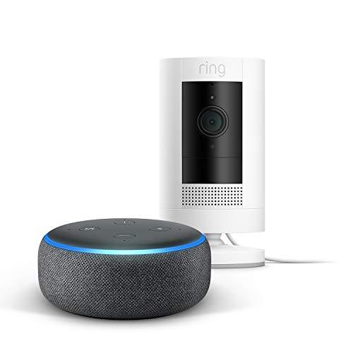 Die neue Ring Stick Up Cam Plug-In + Echo Dot (3rd Gen), Anthrazit Stoff, funktioniert mit Alexa