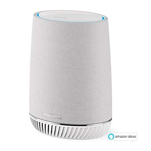 Netgear Orbi RBS40V-100EUS Voice Mesh WLAN Smart Lautsprecher (Erweiterung um 125 m² Abdeckung, integrierte Amazon Alexa, Repeater für Orbi Mesh-WiFi-Systeme, High Speed Satellit Smart Home Speaker)