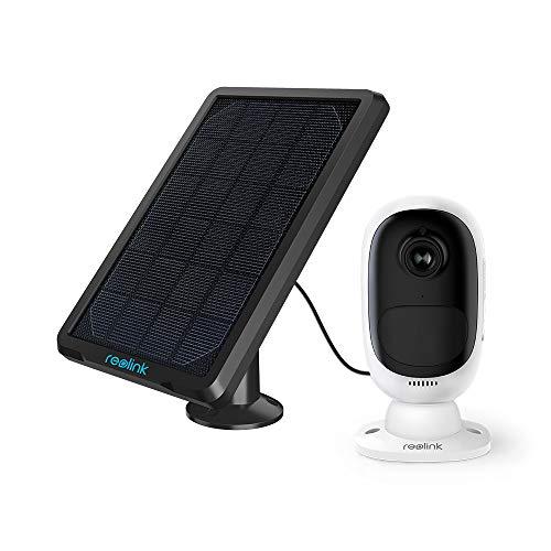 Reolink Überwachungskamera Argus 2 + Solarpanel, 1080p kabellose WLAN IP Kamera mit wiederaufladbarer Batterie, 2-Wege-Audio und SD Kartenslot für Außen, kostenlose App und PC-Client