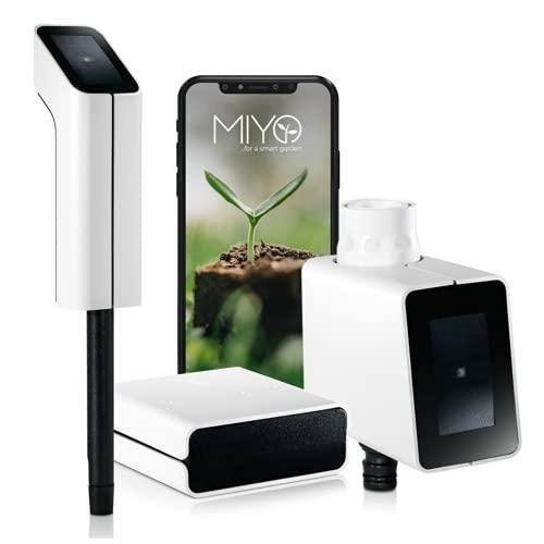 MIYO Starter Set: Smart Home Garten-Bewässerung, steuert automatisch Deine Rasenbewässerung, smartes Online Bewässerungssystem mit App, automatische Gartenbewässerung, WLAN-Bewässerung