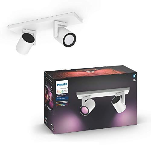 Philips Hue White & Col. Amb. LED 2-er Spot Argenta, weiß, dimmbar, 16 Mio. Farben, steuerbar via App, kompatibel mit Amazon Alexa (Echo, Echo Dot), 915005762001