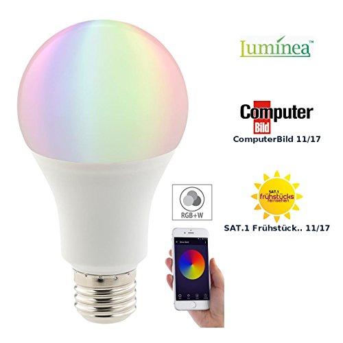 Luminea Home Control WLAN Glühbirne: WLAN-LED-Lampe, komp. mit Amazon Alexa & Google Assistant, E27, RGBW (Alexa Glühbirne)