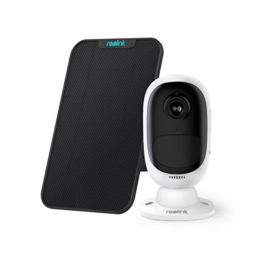 Reolink Überwachungskamera Aussen Akku, 1080p Kabellose WLAN IP Kamera mit PIR Bewegungsmelder, 2-Wege-Audio, Sternenlicht-Nachtsicht, 2,4GHz WLAN und SD-Kartenslot, Argus 2 mit Solarpanel