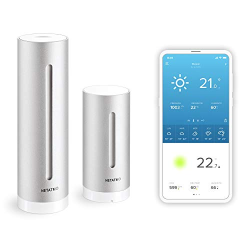 Netatmo Smarte Wetterstation - WLAN, Funk, Innen- und Außensensor, Wettervorhersage, Amazon Alexa & Apple HomeKit, Hygrometer, Luftqualität, NWS01-EC