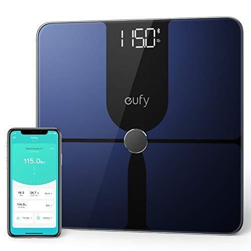 eufy Smart Scale P1, Smarte Personenwaage mit Bluetooth, Große LED-Anzeige, 14 Messwerte, Misst Gewicht/Körperfett/BMI/Körperzusammensetzung, Oberfläche aus Hartglas, lbs/kg