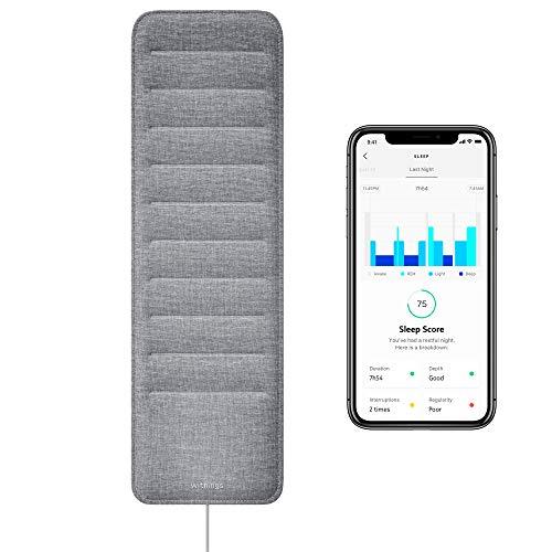 Withings Sleep - Schlafsensormatte, jetzt mit Erkennungsfunktion für schlafbezogene Atmungsstörungen. Einsatzbereit mit Schlafphasen-Analyse, Herzfrequenztracking, Schnarcherkennung und Schlaf-Index