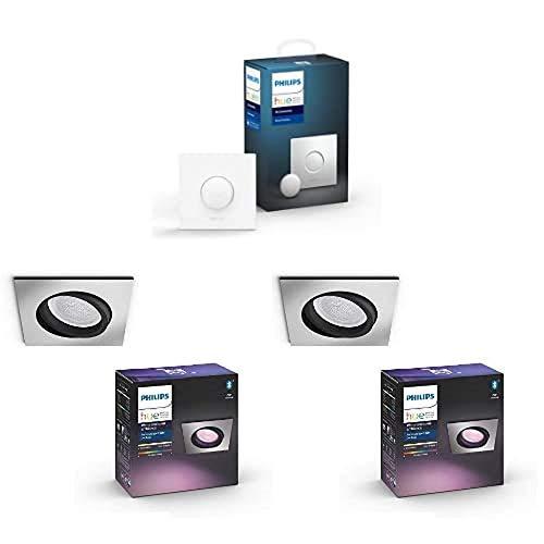 2x Philips Hue White & Col. Amb. LED Einbauspot Centura, eckig, dimmbar + Smart Button, komfortables Dimmen ohne Installation