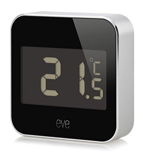 Eve Degree - Smarte Wetterstation (Markenqualität aus DE) zum Überwachen von Temperatur, Luftfeuchtigkeit und Luftdruck, Display, wasserbeständig, keine Bridge erforderlich (Apple HomeKit)