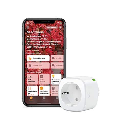 Eve Energy - Smarte schaltbare Steckdose (deutsche Markenqualität), TÜV zertifiziert, Verbrauchsmessung, Zeitpläne, schaltet Geräte ein & aus, keine Bridge nötig, Smart Plug (Apple Homekit)