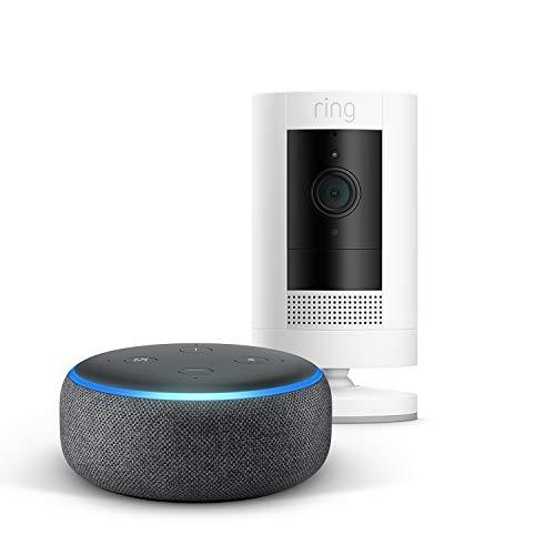 Die neue Ring Stick Up Cam Battery + Echo Dot (3rd Gen), Anthrazit Stoff, funktioniert mit Alexa