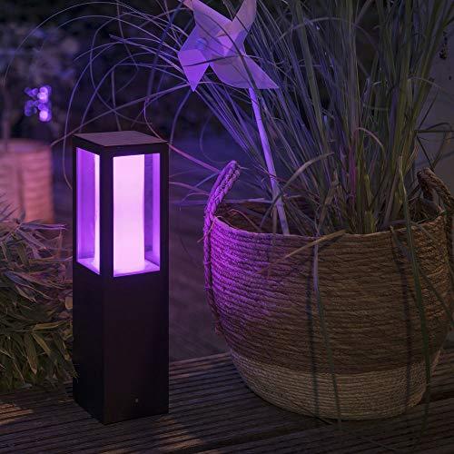 Philips Hue White & Color Ambiance Impress Sockelleuchte, schwarz   LED-Gartenleuchte für den Aussenbereich, dimmbar, bis zu 16 Millionen Farben, steuerbar via App, Tablet & Smartphone