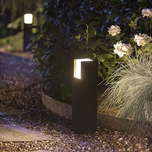 Philips Hue White Fuzo Sockelleuchte, schwarz   LED Außenleuchten für den Balkon, Terrasse & Garten   Schutzart IP44, spritzwasser-geschützt   Dimmbar per App, Dimmschalter